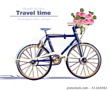 Bicycle travel card Vector realistic. Detailed 41160981