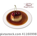 Panna cotta dessert Vector. Sweet breakfast 41160998