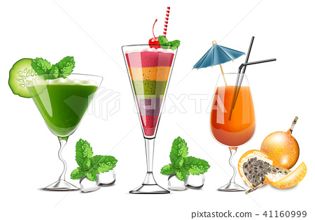 Exotic fruits cocktails glasses isolated Vector 41160999