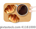 Croissant pattern Vector. Sweet dessert breakfast 41161000