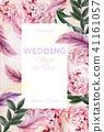 Wedding Invitation peonies bouquet Vector 41161057