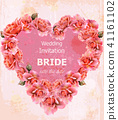 Wedding Invitation roses card Vector 41161102