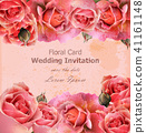 Wedding invitation with roses Vector 41161148