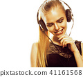 young sweet talented teenage girl in headphones singing isolated 41161568