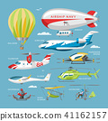 Plane vector aircraft or airplane and jet flight transportation and helicopter in sky illustration 41162157