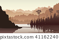Illustration of forest hills with lake. 41162240