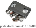 video tapes and photographic film isolated  41162609