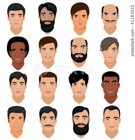Man portrait vector male character face of boy with hairstyle and cartoon manlike person with 41163022