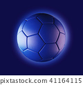 Blue soccer ball on blue background in technology 41164115