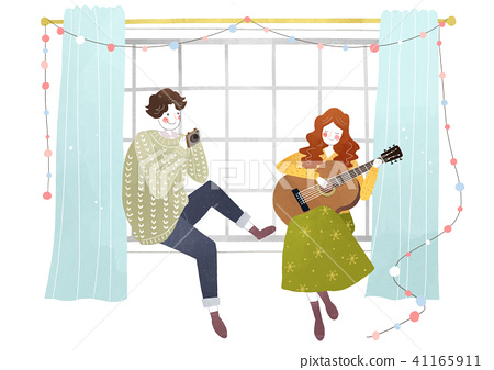 Vector - Couple in love, event day concept illustration 004 41165911