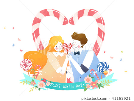Vector - Couple in love, event day concept illustration 009 41165921