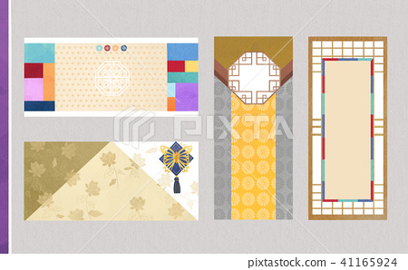 Korean traditional style label, card design illustration 012 41165924