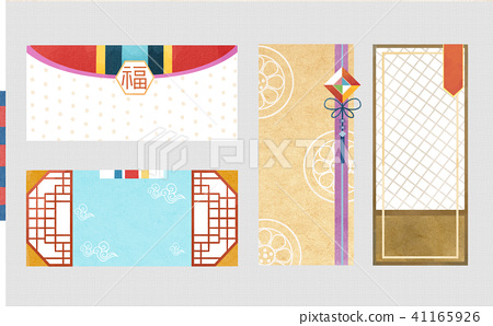 Korean traditional style label, card design illustration 005 41165926