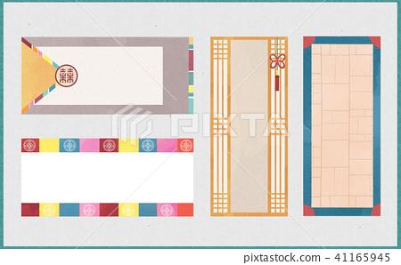 Korean traditional style label, card design illustration 001 41165945