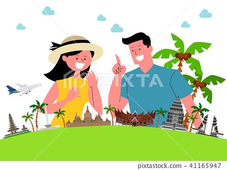 Trip to East asia, Travel Landmarks Vector Illustration 007 41165947
