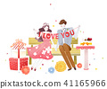 Vector - Couple in love, event day concept illustration 002 41165966