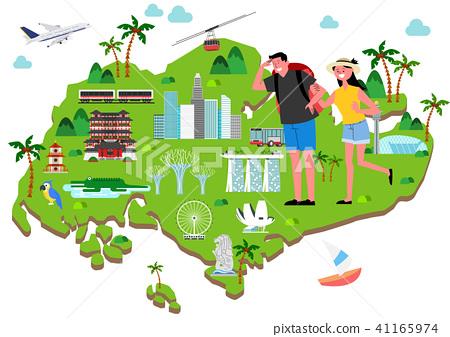 Trip to East asia, Travel Landmarks Vector Illustration 005 41165974