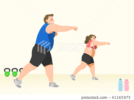 Doing exercises to lose Weight, health care concept illustration 015 41165975