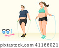 Doing exercises to lose Weight, health care concept illustration 009 41166021