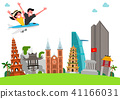 Trip to East asia, Travel Landmarks Vector Illustration 003 41166031