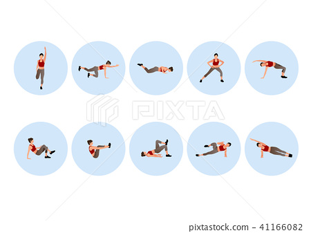 Training people icons set for sport and fitness. Flat style design vector illustration. 008 41166082
