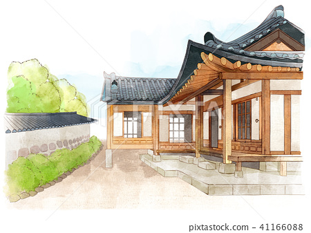 the beauty of the hanok, traditional Korean-style house on watercolor background 003 41166088
