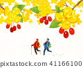 Scenery of blossoms in spring. a couple dating on spring landscape vector illustration. 007 41166100