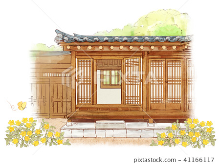 the beauty of the hanok, traditional Korean-style house on watercolor background 001 41166117