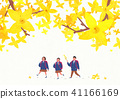 Scenery of blossoms in spring. a couple dating on spring landscape vector illustration. 005 41166169