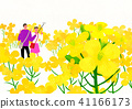 Scenery of blossoms in spring. a couple dating on spring landscape vector illustration. 006 41166173