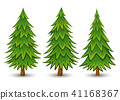 Green Pine trees set on a white background 41168367