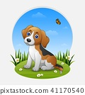 Cartoon dog sitting on the grass 41170540