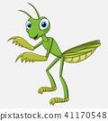 Cute cartoon mantis on white background 41170548