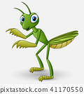 Cute cartoon mantis on white background 41170550