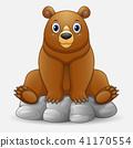 Cute baby bear cartoon sitting on rock 41170554