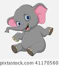 Cute baby elephant sitting isolated on white backg 41170560