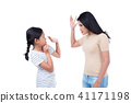 woman hitting her daughter over white background 41171198