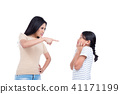woman scolding her daughter over white background 41171199