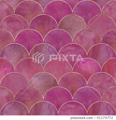 Mermaid fish scale wave japanese seamless pattern 41174772