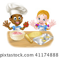 Cartoon Kids Baking 41174888