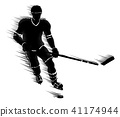 Silhouette Ice Hockey Player Concept 41174944