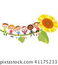 孩子坐在向日葵上 41175233