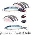 Watercolor sea food set 41175448