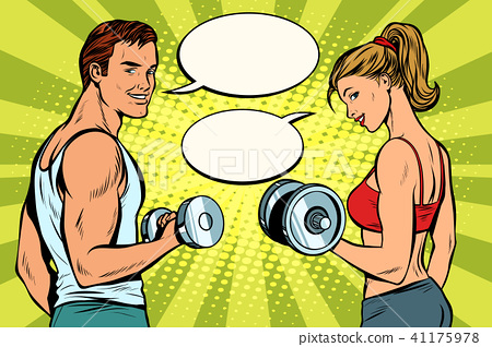 Man and woman in the gym with dumbbells 41175978
