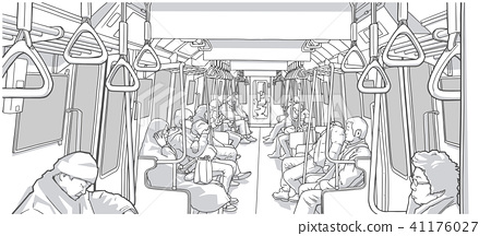 Illustration of commuters in metro car line art 41176027