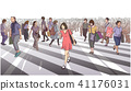 Shibuya crossing illustration in perspective 41176031
