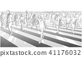 Shibuya crossing illustration in black and white 41176032