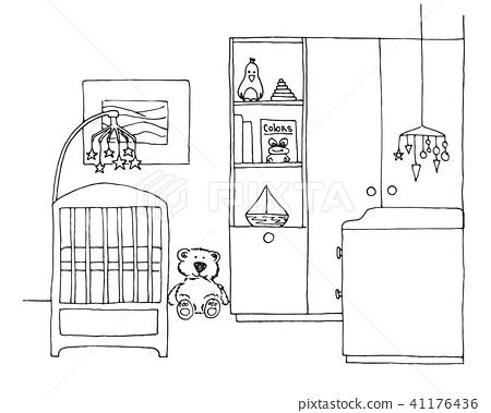 Sketch room for the newborn. Vector illustration 41176436