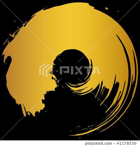 Round circle Gold brush character 41178530