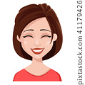 Face expression of a woman, laughing 41179426